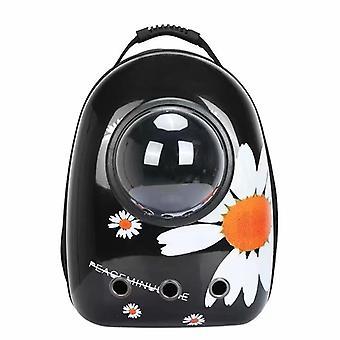 Black Daisy Portable Pet Backpack