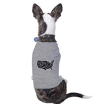I Love USA Map Cute Grey Pet Shirt For Small Dogs 4th Of July Gifts