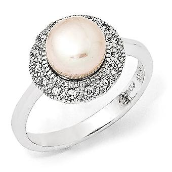 925 Sterling Argent Rhodium plaqué CZ Cubic Zirconia Simulated Diamond Pink Freshwater Cultured Pearl Ring Bijoux Cadeaux