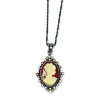 925 Sterling Silver Crystal Cameo Pendant Necklace With Chain 16 Inch Spring Ring Jewelry Gifts for Women