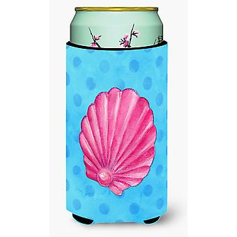 Rosa Sea Shell blau Polkadot Tall Boy Getränk Isolator Hugger