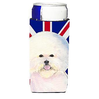 Bichon Frise with English Union Jack British Flag Ultra Beverage Insulators for