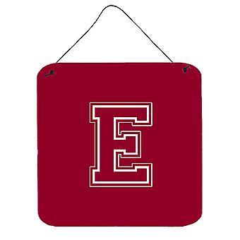 E-KIRJAIN alkuperäistä monogrammi - Maroon ja valkoinen seinä tai ovi roikkuu tulosteita