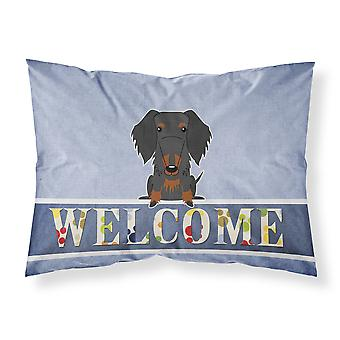 Wire Haired Dachshund Black Tan Welcome Fabric Standard Pillowcase