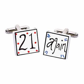 21 novo abotoaduras por Sonia Spencer, em apresentação caixa de presente. Pintados à mão