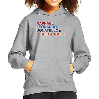 Teenage Mutant Ninja Turtles Character List Kid's Hooded Sweatshirt