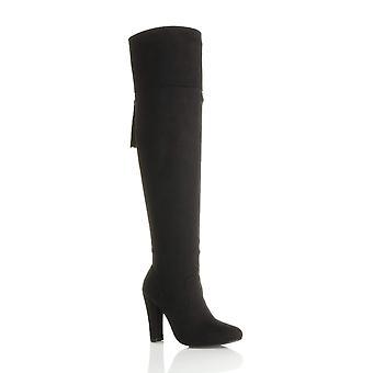 Ajvani kvinners blokkere høy hæl dusk smart over kneet lår høye støvler