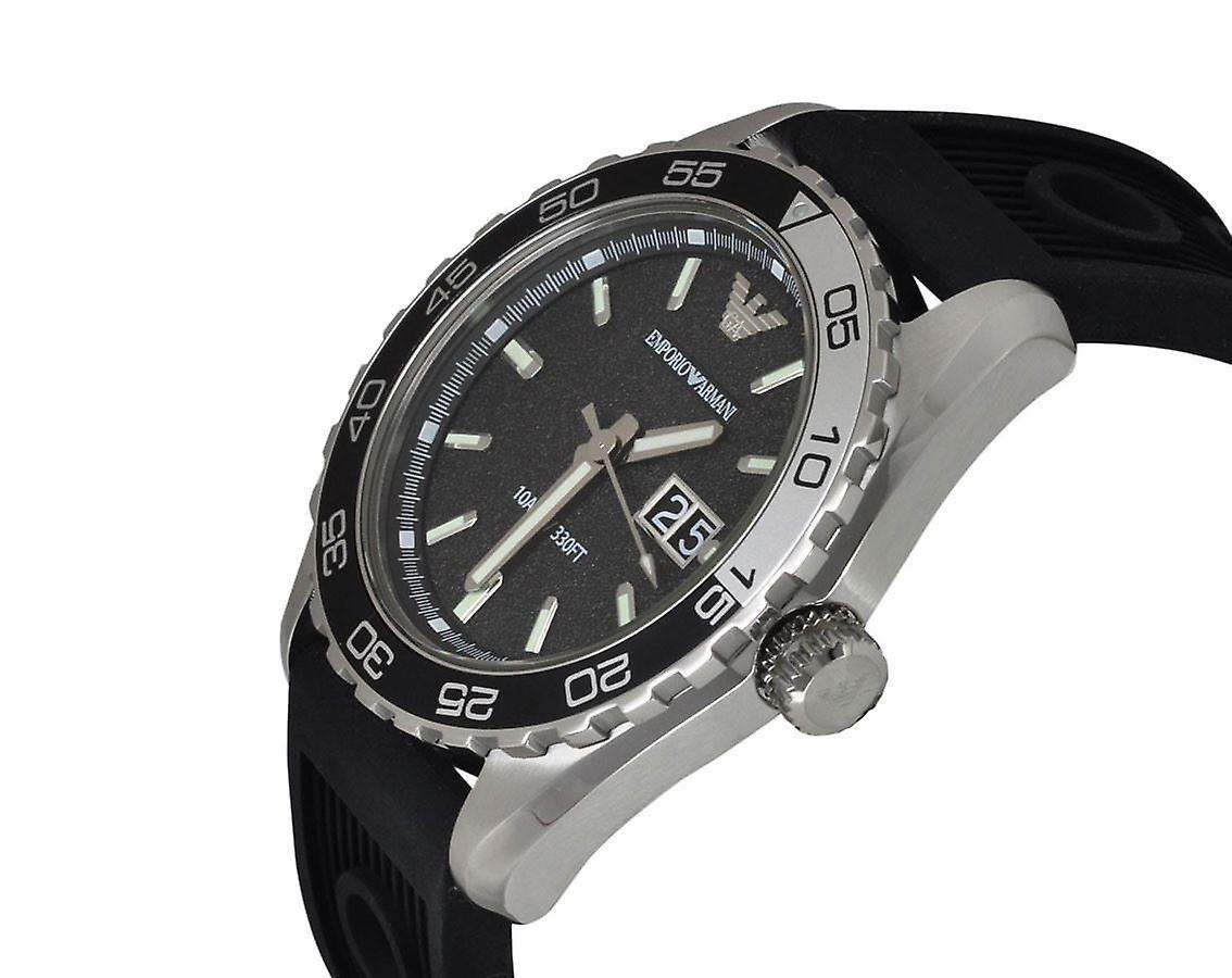 Montre Silicone noir bracelet cadran noir AR6044 Emporio Armani Sportivo masculine