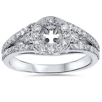 3/4ct Halo Diamond Engagement Ring Setting 14K White Gold