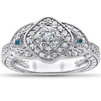 3 / 4ct behandeld blauwe & witte echte diamanten Pave Engagement Vintage Ring 14k goud