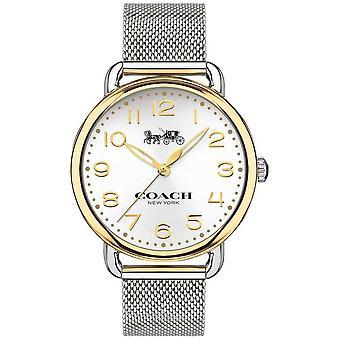 Coach Womens Delancey Stainless Steel Mesh Bracelet Gold Tone Case 14502802 Watch