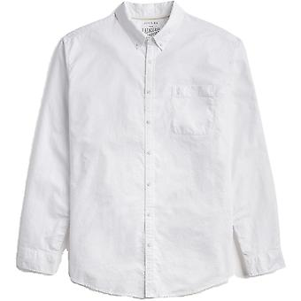 Joules Mens witgewassen lang klassieke Fit Oxford katoenen Shirt met mouwen