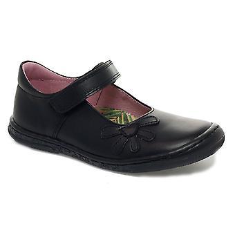 Petasil Girls Donna School Shoes Black Leather