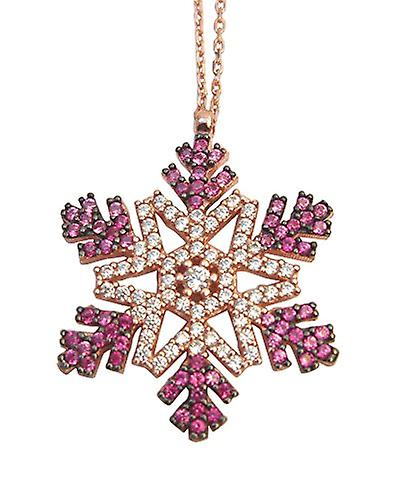 Snow flake 18 ct rose gold necklace