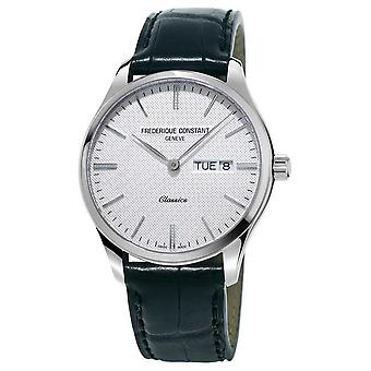 Frederique Constant Mens Classics Quartz Black Leather Strap White Dial FC-225ST5B6 Watch