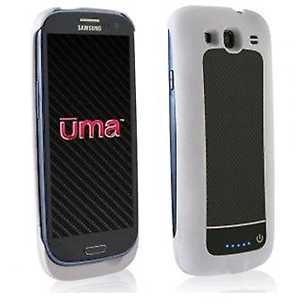 Wirex - UMA Slim Power Battery Case for Samsung Galaxy S3 Cell Phones - White/Black