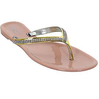 Damen Silber Gold Diamante Strap eleganten Frauen Thong Fashion Sandals