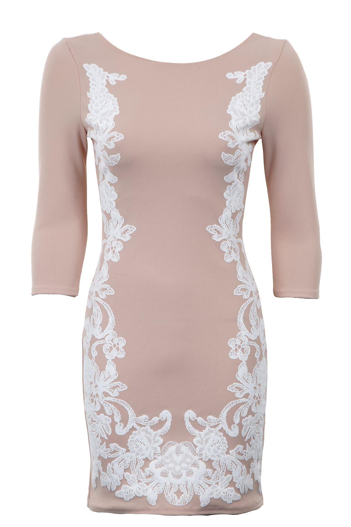 Uusi hyvät 3/4 hihat kukka kohokuvioitu Slim sopiva Bodycon naisten pukeutuminen