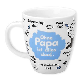 David Cup zonder papa goofy wit is, afgedrukt over porselein.