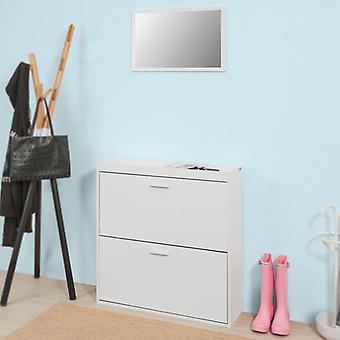 SoBuy Flur Möbel Lagerung Schuhschrank mit Wand Spiegel Rack FSR61-W