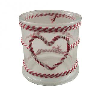Gisela Graham Twine Heart Glass Christmas  Candle Holder