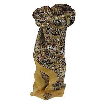 Creme de Sarnath amoreira seda tradicional lenço quadrado por Pashmina & seda