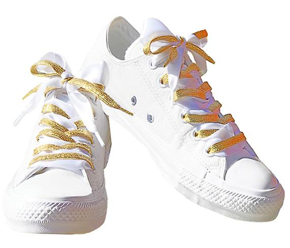 Gold Glitter and White Satin Lace Set Laces