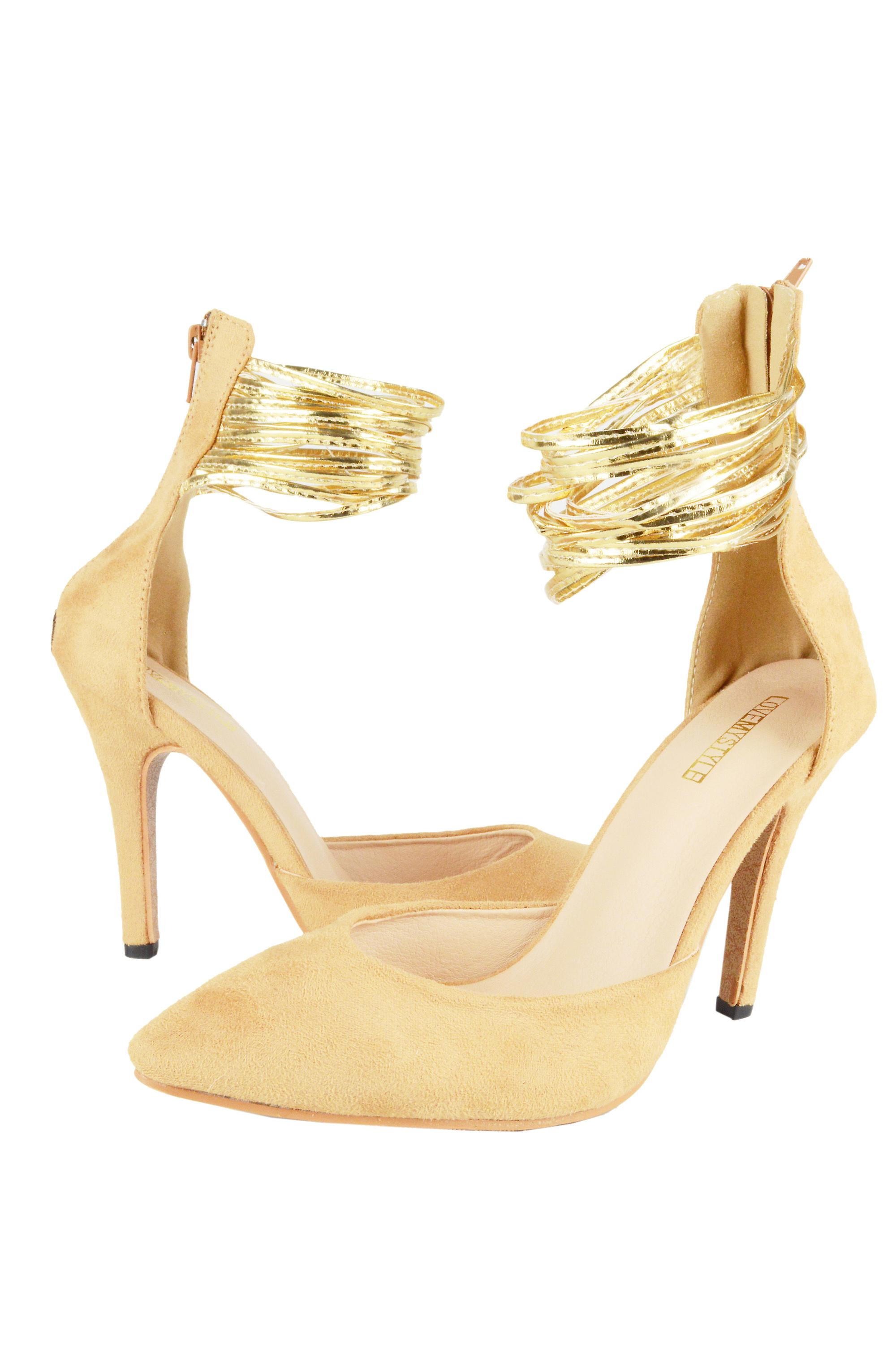 LMS Light Brown Suede Pointed Toe Court With Gold Ankle Strap