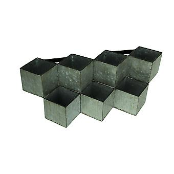 Rustic Galvanized Metal Geometric 7 Compartment Wall Mounted Planter