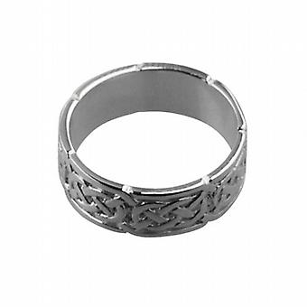 9ct White Gold 6mm Celtic Wedding Ring Size Q
