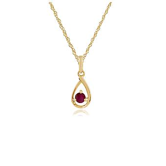 Gemondo 9ct Yellow Gold Single Stone 0.16ct Ruby Pendant on Chain