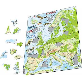 Kart over Europa med dyr - ramme/bord puslespill 29 cm x 37 cm (LRS K70-GB)