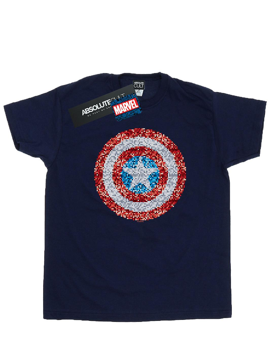 Marvel Men's Captain America Pixelated Shield T-Shirt