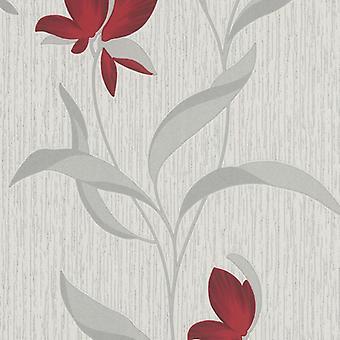 Flower Wallpaper Floral Textured Glitter White Red Silver Vinyl Erismann