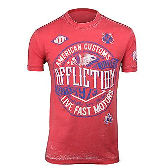 Affliction Mens AC Crude 50/50 T-Shirt - Flame Red