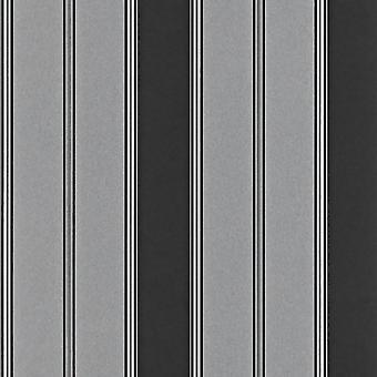 Bold Stripe Black Silver Wallpaper Metallic Shimmer Feature Wall Modern Rasch