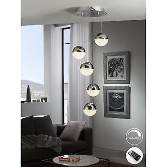 Schuller Modern 5 Sphere Chrome Cascade LED Pendant