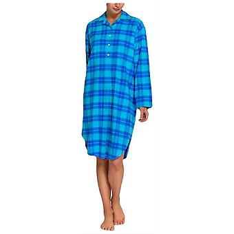 British Boxers Tartan Two Fold Flannel Nightshirt - Aqua Blue