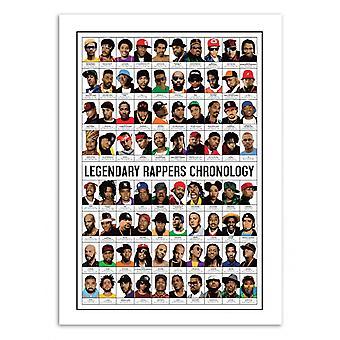 Pôster de Arte 70 x 100 cm - Cronologia dos Rappers Lendários - Olivier Bourdereau 70 x 100 cm