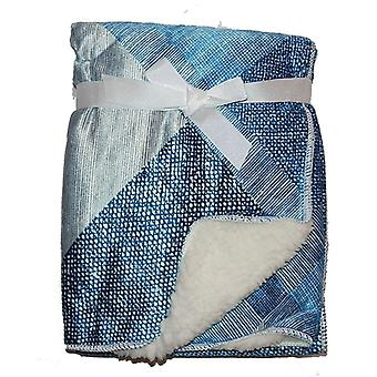 Blue Squares Mink Sherpa Fleece Lined Baby Blanket
