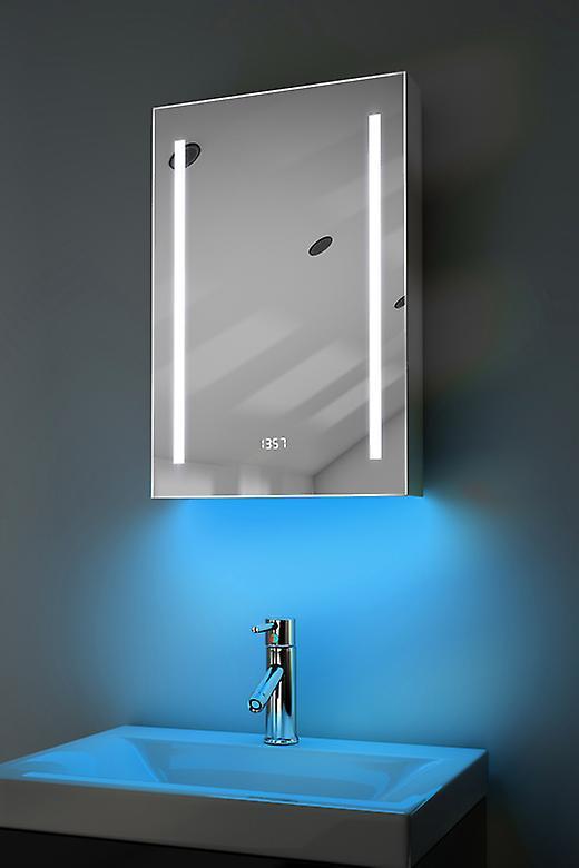 Clock Cabinet With LED Under Lighting, Demister, Sensor & Shaver k384w
