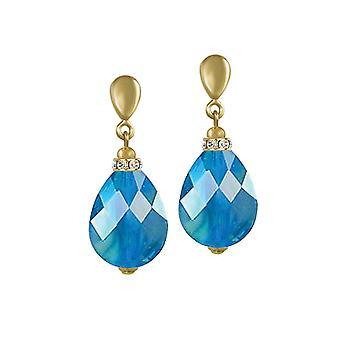 Wieczne nieskończoność kolekcja Aqua AB niebieski marmurkowy szkła ton złota kropla klipsy