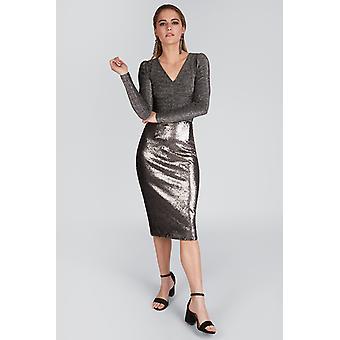 Louche Leana Sequin Skirt Silver