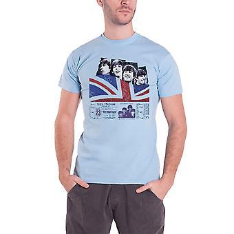 The Beatles T shirt Shea Stadium affisch band logo officiella mens blå
