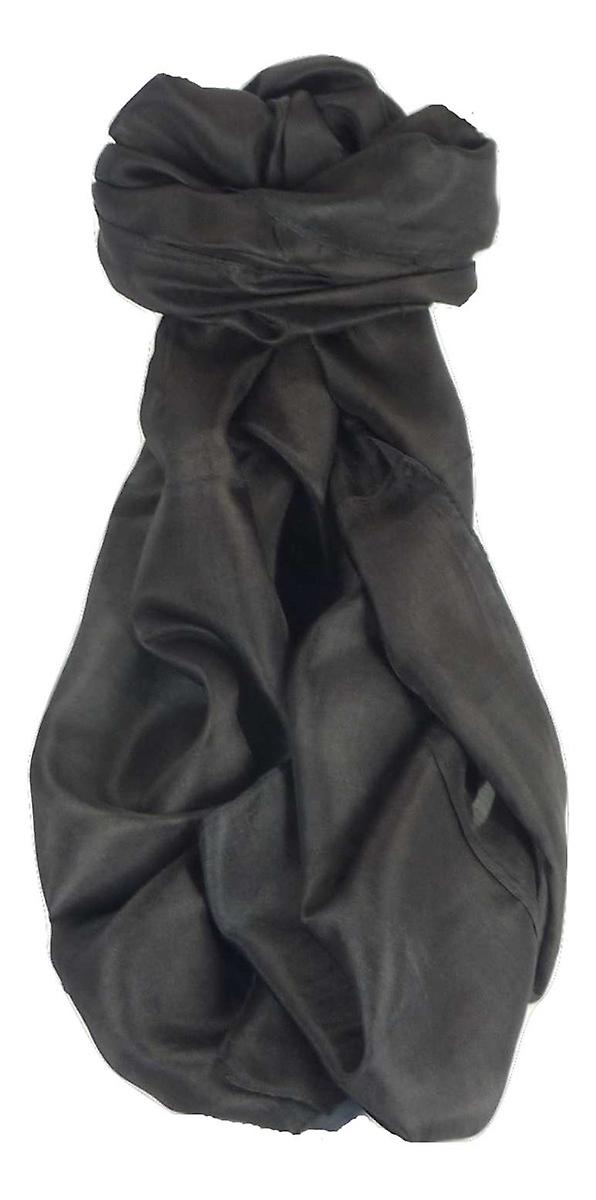 Mens Mulberry Silk Hand Dyed Long Scarf Black from Pashmina & Silk