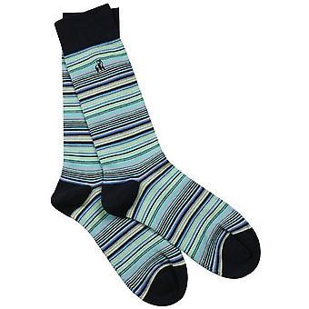 Swole Panda Narrow Striped Bamboo Socks - Navy/Blue