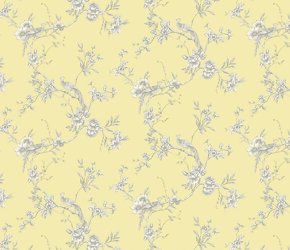Chinoise Yellow Peacock Birds Wallpaper Trees Floral Nature Feature Arthouse