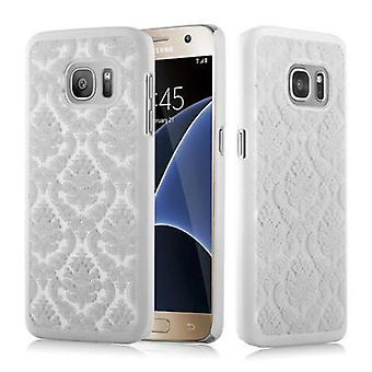 Samsung Galaxy S7 Hardcase Case in WHITE door Cadorabo - Floral Paisley Henna Design Protective Case - Phone Case Bumper Back Case Cover