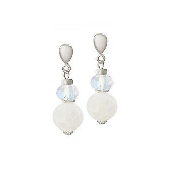 Colección Eterna Rhapsody ágata blanca y cristal plata tono gota tornillo de vuelta clip en pendientes
