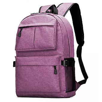 Durable large backpack with USB port-Purple